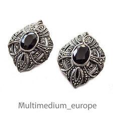 Silber Ohrclips Ohrringe Onyx Markasit silver ear clips earrings marcasite Deco