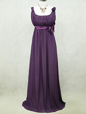Cherlone Chiffon Purple Ballgown Formal Bridesmaid Wedding Evening Dress 12-14
