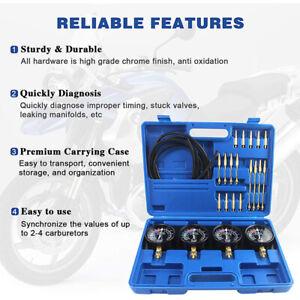 Motorcycle Carb 4 Carburetor Fuel Vacuum Synchronizer Gauges Balancer Meter Kit