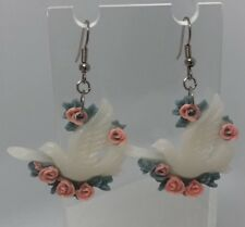 Dove Roses White Cream Flying Bird Birds Charm Earrings H406 Vintage Valentines