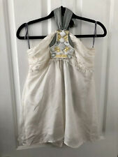 MM Couture By Miss Me 100% Silk Cream Grey Halter Neck Top Embellishment Detail