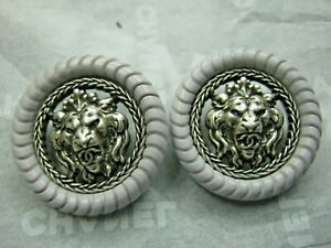 CHANEL 2 SILVER METAL CC LOGO  LION GRAY BUTTON  22 MM /UNDER 1'' NEW lot two