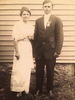 """Antique RPPC """"Happy Couple"""" Suit & Dress People Real Photo Vintage Postcard B7"""