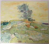 Beau Tableau original Paysage Provençal  Huile Signée manière Van Gogh