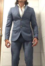 *Worn Once* TOPMAN Light Blue Two Piece Skinny Suit Blazer 38 Trousers 30R