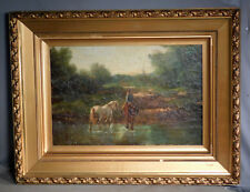 Francis Oliver Finch English Landscape Oil Painting Horses Figures Aylesbury