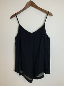 COUNTRY ROAD Size 12 Black Cami Blouse Top Dressy Lined Corded Lace Look