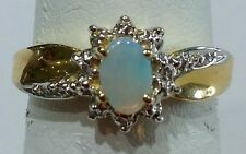 14k Yellow Gold Genuine Birthstone Ring October Opal Vintage Antique Flower