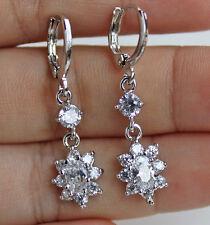 18K White Gold Filled - 1.4'' Wedding Flower Topaz Gems Cocktail Women Earrings