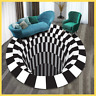 3D printed Vortex Illusion Anti-slip Floor Door Mat Round Room Rug Carpet Home