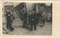 Polish Funeral(?) Procession with Flags & Flowers Real Photo Postcard