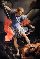 St. Michael the Archangel defeating Satan POSTER 24 X 36 INCH Catholic Saints