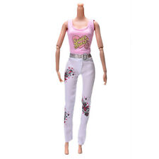 2X Pink Vest Suit for  Dolls Fashion White Pants Printed Doll Cloth  BICADOFA