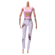2X Pink Vest Suit for Barbie Dolls Fashion White Pants Printed Doll Cloth^TE