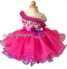 Infant/toddler/baby Crystals Ruffles Bow Pageant Dress 2T G179-1