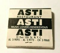 Vintage Matchbook Asti Restaurant NYC Music Lovers Rendezvous Unstruck