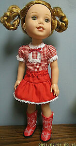 """Square Dance Skirt Set made to fit  14.5"""" Wellie Wishers dolls  4+"""