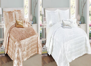 3 Piece Luxury Design Savio Bedspread / Comforter Set With Matching Pillow Cases