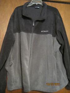 Men's Black/Gray Columbia Zip Up Fleece Jacket, 4X