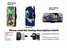 Lilo and Stitch Ohana leather wallet phone case for Samsung Iphone HTC