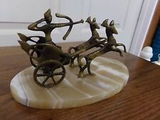 Unique Vintage Brass and Marble Roman Chariot & Horse Statue