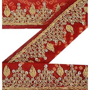 Sanskriti Vintage Bandhani Sari Border Indian Craft Red Trim Hand Beaded Lace