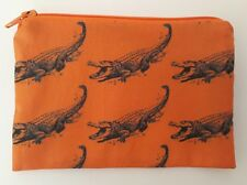 Handmade Zippy Cotton Fabric Coin Purse (Fully Lined) - Alligators on Orange