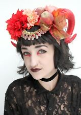 Demon Gothic Rams Horn Red Burlesque Halloween Devil Headdress Headband Crown
