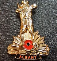 ANZAC DAY WW1 100TH ANNIVERSARY ALBANY *LIMITED EDITION* BADGE MEDAL - NUMBERED