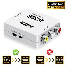 Composite CVBS AV RCA to HDMI Video Audio Converter Adapter PAL/NTSC with USB