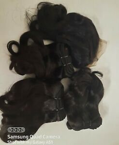 3Bundles + closure Raw fumi double drawn unprocessed Virgin Human hair.(10')x3+1