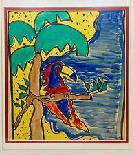Arlene Armenta vintage California folk art primitive signed art Modernism