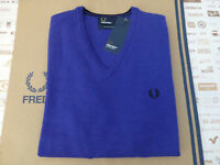 FRED PERRY Jumper K7210 Men's Classic Tipped V-Neck Regal Size L Wool Top RRP£90
