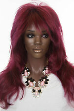 Burgundy Blonde Long Straight Costume Wigs
