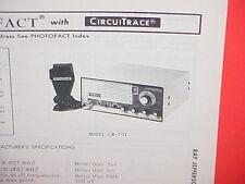 1977 RAY JEFFERSON CB RADIO SERVICE SHOP MANUAL MODEL CB-701