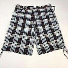 New TWE Ar Bermuda Shorts Men's Size 3XL XXXL Red White Black Plaid Flat Front
