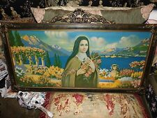 antique vintage saint therese tin lithograph in gesso frame LOVELY