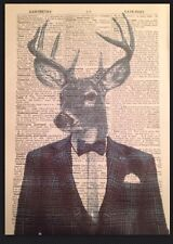 Vintage Stag Head Print Dictionary Page Wall Art Picture Blue Tartan Suit Human