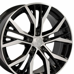 "18"" Rim Fits Volkswagen VW GTI VW28 Black Mach'd Rim Offset 45mm 18x8 Wheel"