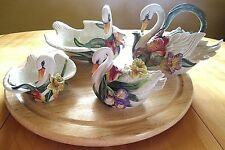 4pc Collection of Swan Fitz & Floyd Tea Pot-Covered Sugar-Lg Bowl-Sm Bowl