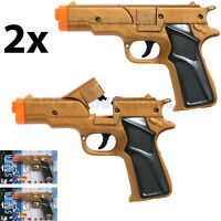 LOT OF 2 - CAP GUN TOY PISTOL REVOLVER DETECTIVE POLICE COLT 45 FIRE 8 RING CAPS