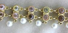 Swarovski Crystal Bracelet w Pearl Dangle Swan Signed Jewelers Collection