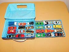 VINTAGE TOY 24 METAL CARS TRUCKS TRACTOR IN TARA PLASTIC CASE