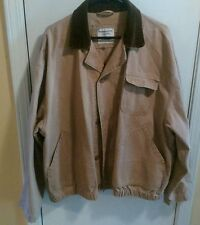 Vintage Abercrombie & Fitch Hunting Jacket Tan with Brown Corduroy Collar Large
