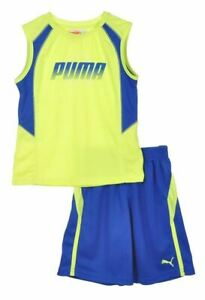 Puma Toddlers Logo Perf Set Sleeveless Top & Shorts Set - Blue Or Orange