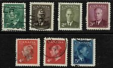 """Canada 1949-51 King George VI """"POSTES POSTAGE""""-Complete Set Of Seven Stamps-F/U"""