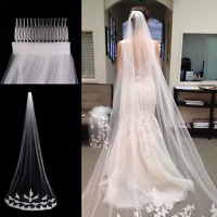White Ivory 1T Cathedral Applique Edge Lace Bridal Wedding Veil With Comb 3M SU