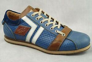 KAMO-GUTSU Schuh ART. TIFO 030 Blau Royal Combi Echtleder Herren Sneaker