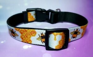 HONEY BEE DOG COLLAR. *NEW* Full Colour Print. Be Happy. Bee Gift. honey bees