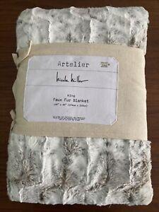 "Nicole Miller Artelier Faux Fur Throw Blanket Cream/Brown Luxury 108""x90""-King"